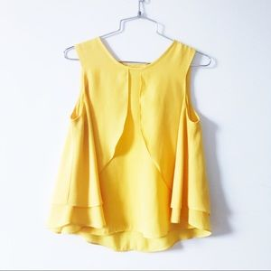 Zara yellow chiffon sleeveless top w panel